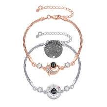 100 Languages I Love you Bracelet Heart Wedding Romantic I Love You Projection Bracelets for Women Lady Girl Friend Gifts
