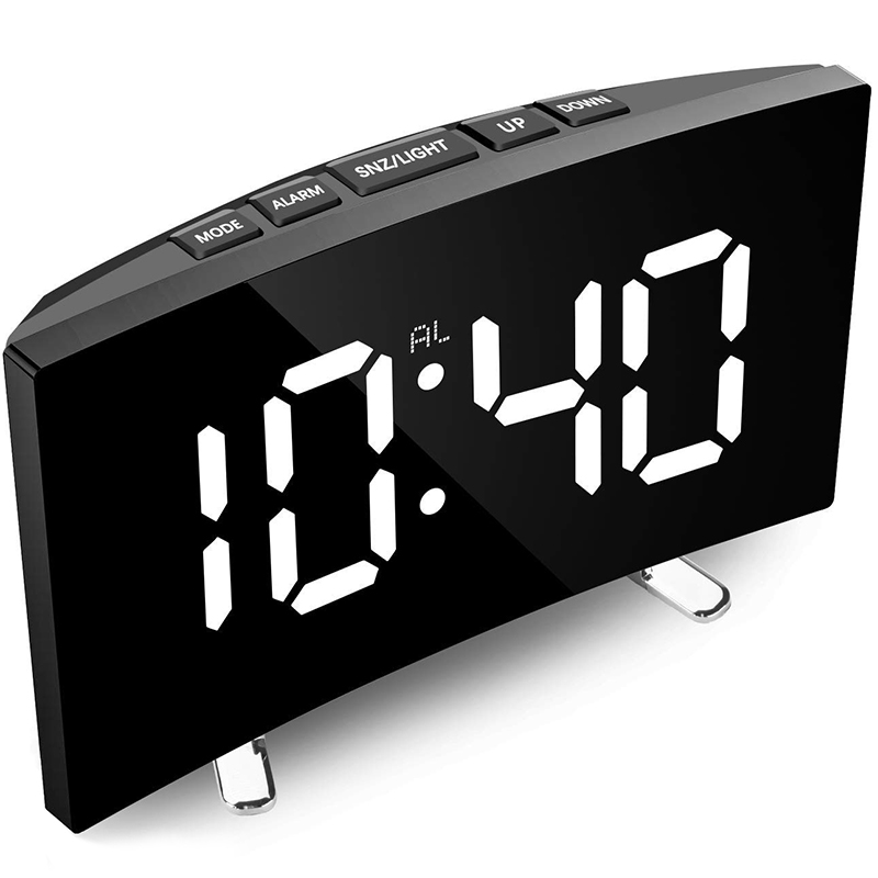 Digital Alarm Clock, 7 Inch Curved Dimmable LED Sn Digital Clock for Kids Bedroom, White Large Number Clock, Snooze Function
