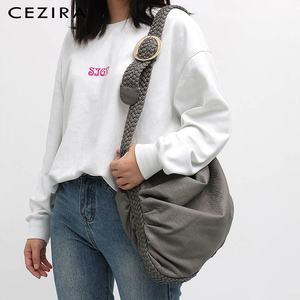Image 5 - Большая мягкая повседневная женская сумка CEZIRA, школьная сумка из искусственной кожи для девушек, сумка мессенджер с регулируемой плетеной пряжкой и плечевым ремнем