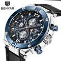BENYAR Топ бренд большой циферблат дизайн хронограф спортивные мужские часы модные военные водонепроницаемые кварцевые часы Relogio Masculino