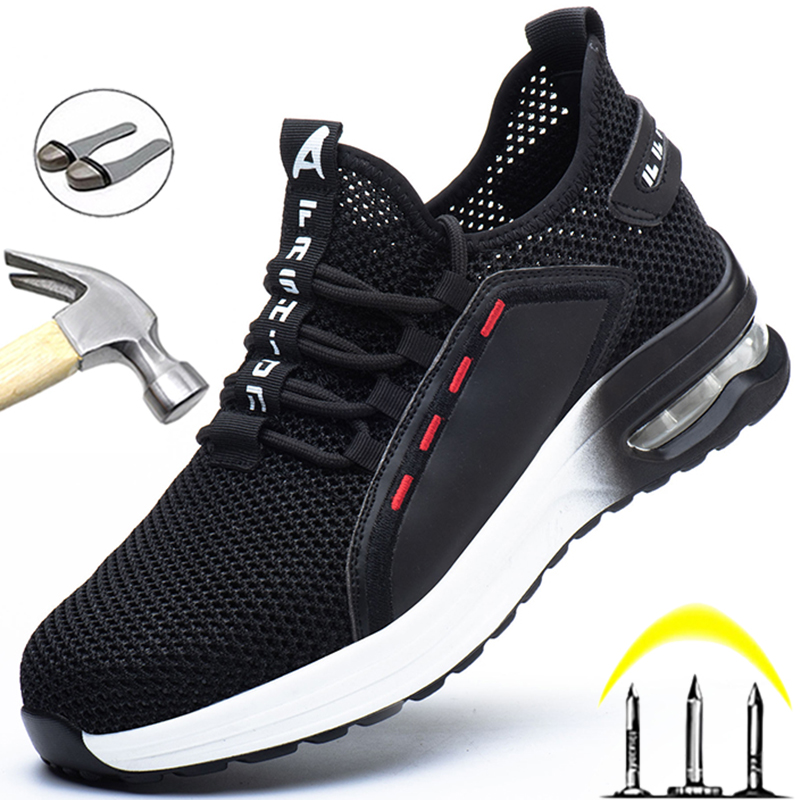 Men Safety Shoes Anti-puncture Work Shoes Anti-smash Work Sneakers Comfort Men Shoes Lightweight Steel Toe Shoes Safety Boots 48
