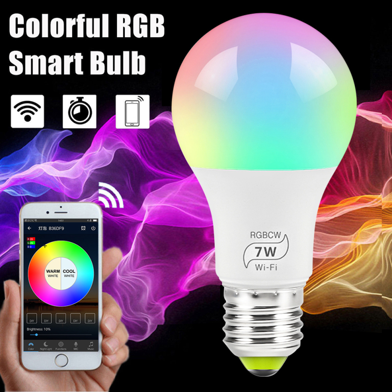 Dropship 1/4/5/10PC 7W Smart WiFi Light Bulb RGB Magic Light Bulb Lamp Wake-Up Lights title=