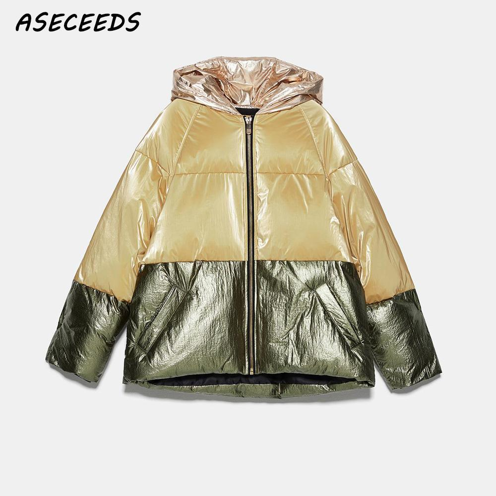 Vintage warm winter jacket women   parkas   color block coats and jackets women winter coat outerwear reflective jackets coats 2019