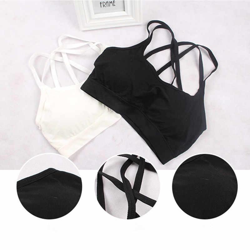 Wanita Solid Warna Tali Silang Hitam Yang Indah Bernapas Tabung Tops Olahraga Yoga Bra Kebugaran Aksesoris Bralette Plus Ukuran