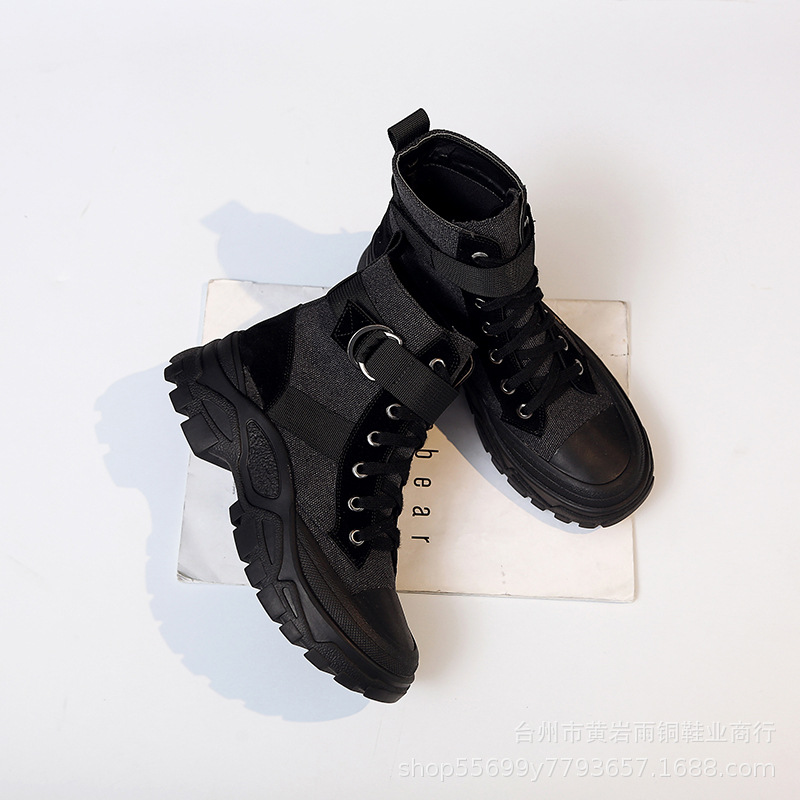 2019 Autumn And Winter New Style British Style Locomotive Chunky-Heel Short Boots Women's Canvas Short Lace-up Anti-slip Female