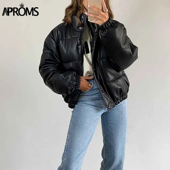 Aproms Black Thick PU Leather Parkas Women Winter Casual Cotton Padded Puffer Jackets Female Short Coats Warm Outerwear 2020 oversize winter puffer jackets for women female korean loose long sleeve coats woman parkas fashion warm coats and jackets women