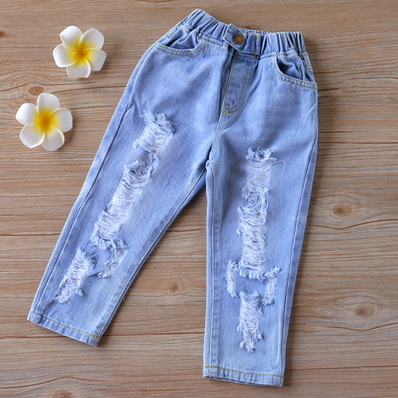 Humor Bear 2020 Children'S Clothing New Children'S Pants Boy Holes Jeans Spring And Autumn Cotton Baby Kids Children'S Pants 1