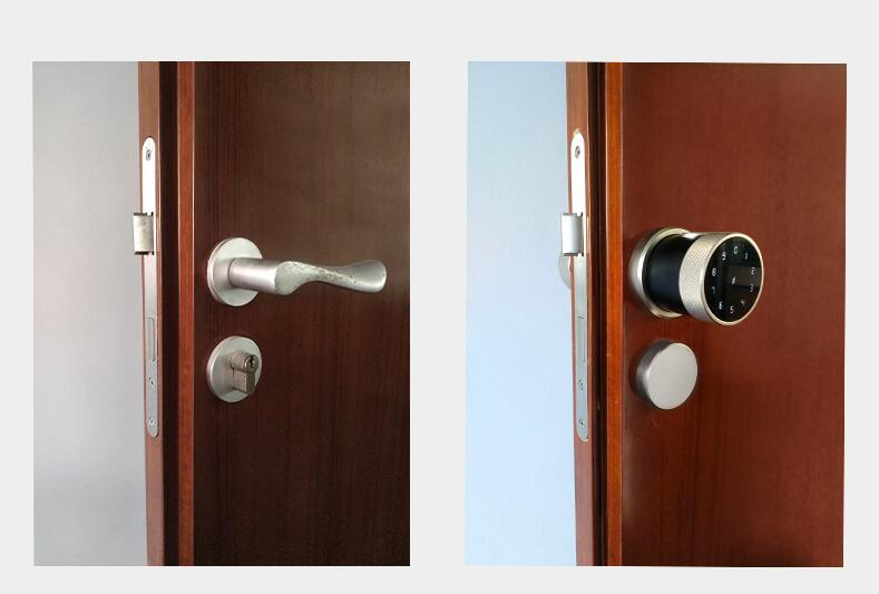 Hacb43780f5124966b519eea35802e4b6s TT lock APP Fingerprint Door Lock Digital Keyboard Smart Card Combination knob Lock For Home / Office / Hotel DIY Door Lock