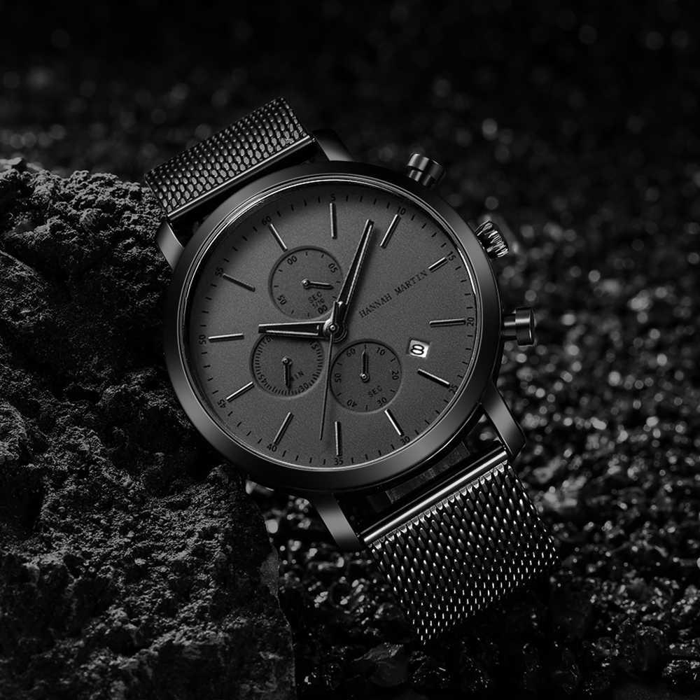 2020 neue Schwarz Edelstahl Mesh Armbanduhr Hohe Qualität Multi-funktion Kalender männer Top Marke Luxus Uhren Drop verschiffen