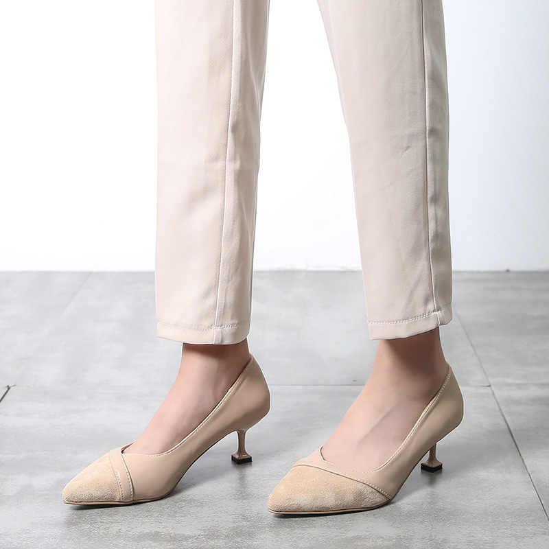 Silentsea Spitz Stiletto Heels Kleid Pumpen Flach Slip-auf 6cm Ultra Low Hohen Ferse Bankett Schuhe design täglichen pumpe damen