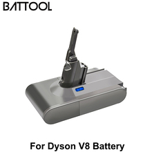 Battool V8 6000mAh 21.6V Battery For Dyson V8 Battery Absolute V8 Animal Li-ion Vacuum Cleaner Rechargeable Power Tools BATTERY 2pcs lq s1 battery for smart watch dz09 w8 a1 t8 x6 qw09 v8 x6 dj 09 battery lq s1 3 7v 380mah li po rechargeable battery cells