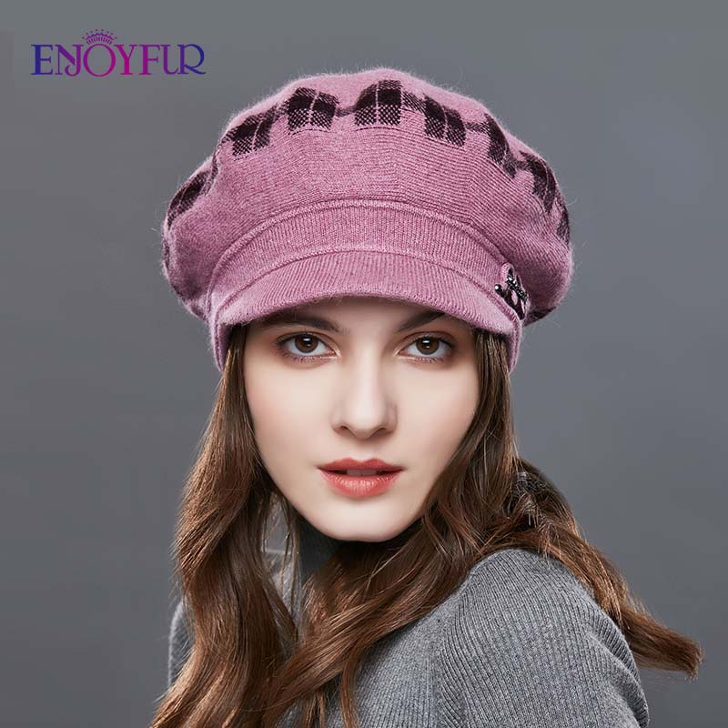 Image 3 - ENJOYFUR Rabbit Knitted Women's Hats Warm Thick Visors Cap For Winter High Quality Plaid Middle Aged Lady Caps Casual Hat Female-in Women's Skullies & Beanies from Apparel Accessories