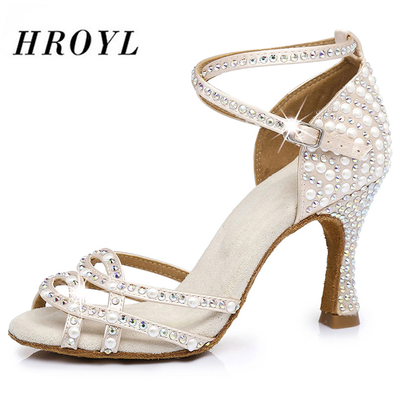 HROYL Women Latin Dance Shoes Female Girl Ladies Tango Ballroom Sandal Salsa Samba Rhinestone  Sexy Party Heeled 5/6/7.5/8.5/9/1