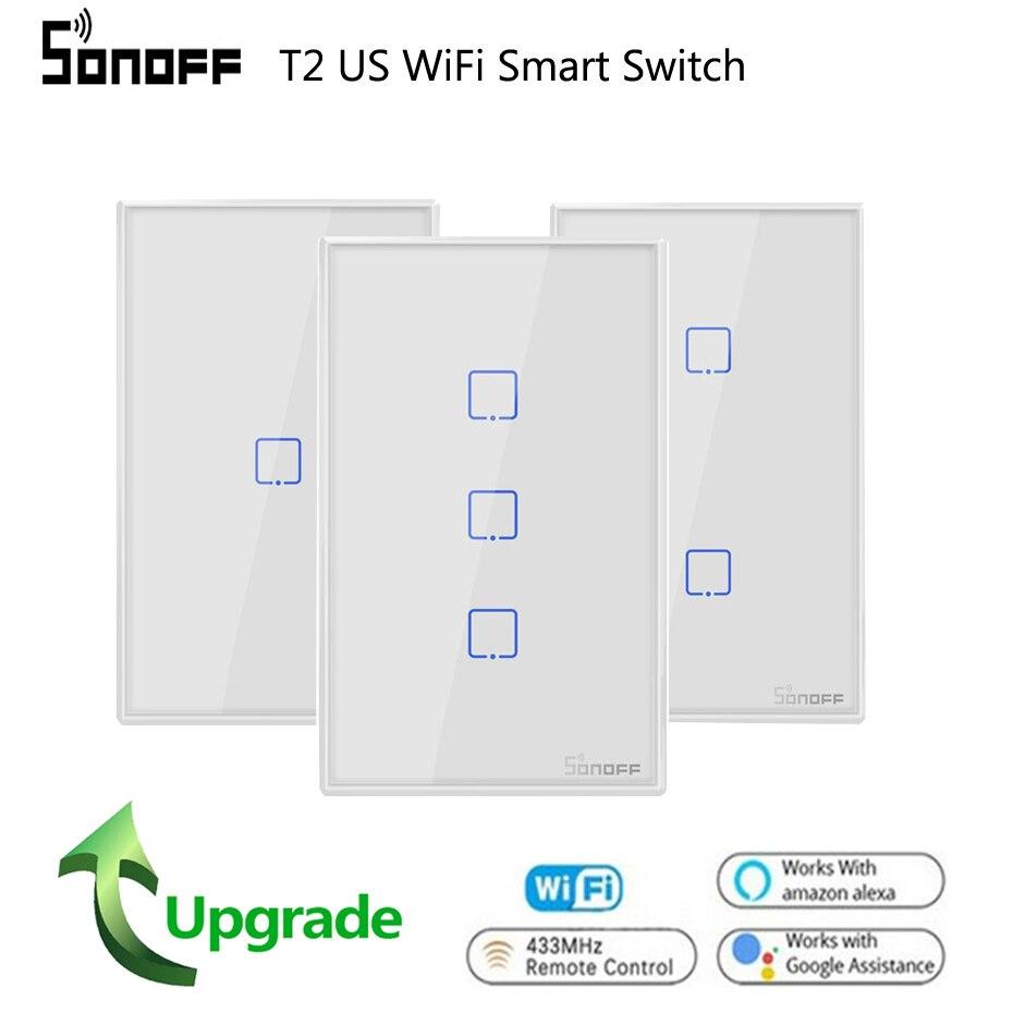 Sonoff T2 NÓS Wi-fi Interruptor Leve Toque Parede 1 2 3 gang TX 433Mhz Sem Fio RF Interruptor de Controle remoto painel de Trabalho Com Alexa Google