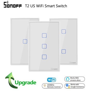 цена на Sonoff T2 US Wifi Wall Light Touch Switch 1 2 3 gang TX Wireless 433Mhz RF Remote Controlled Switch Panel Work With Alexa Google