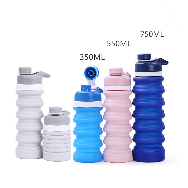 Portable Silicone Collapsible Water Bottle for Sport Outdoor Travel Retractable Folding Bottles My Drinking Bottle Kettle 550ML in Water Bottles from Home Garden