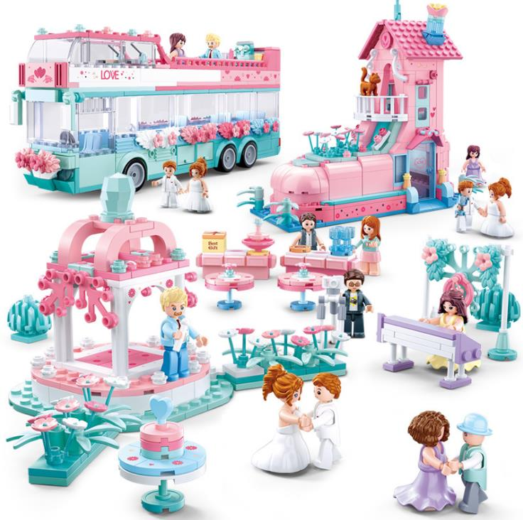 Compatible Legoing Friends Tree Race Car Bus Brick Toy Child For Girl Princess Prince City Wedding Sets Romantic Amusement Park
