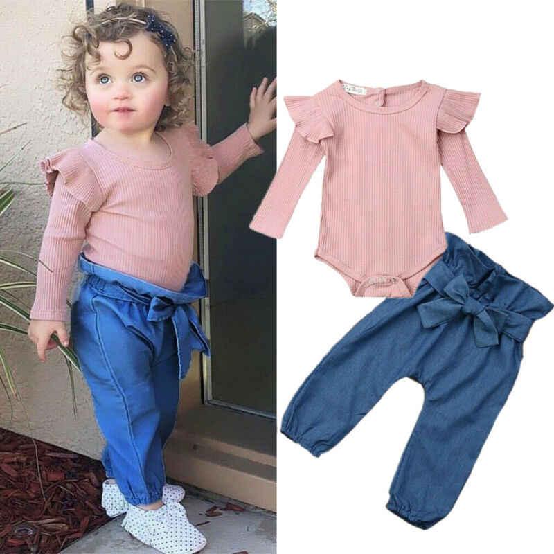 Ropa de bebé niña otoño algodón recién nacido bebé niña mono manga voladora Bodysuit Bowknot Denim Pantalones 2 uds conjuntos de conjuntos