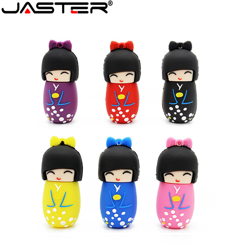 JASTER U Disk Japanese Dolls Kimono Girl Usb Flash Pen Drive 4g 8g 16g 32g 64g Dolls Flash Usb Memory Stick Pen Drive Gifts Disk