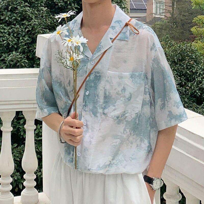 Summer Tie-dye Shirt Men's Fashion Casual Short-sleeved Shirt Men Streetwear Wild Loose Korean Short-sleeved Shirts Mens