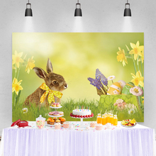 Laeacco Frühling Blume Grün Gras Baby Party Kaninchen Ostern Eier Fotografie Hintergrund Foto Schießen Tabelle Banner Studio Hintergrund
