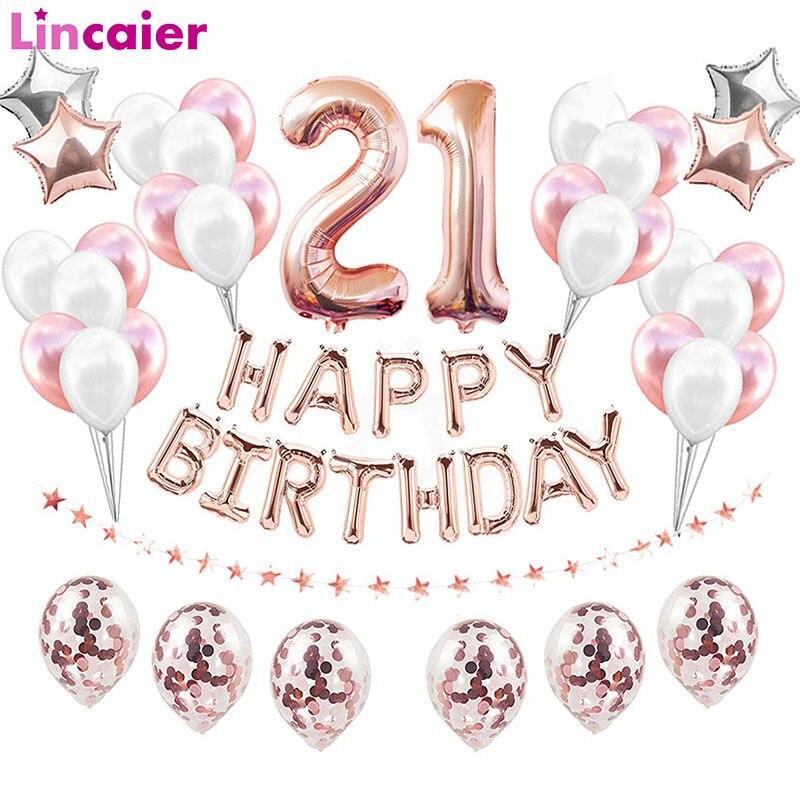 38 шт./компл. розовые золотые синие розовые 32-дюймовые фольгированные цифры-шары 21 год декор для дня рождения для мужчин и женщин