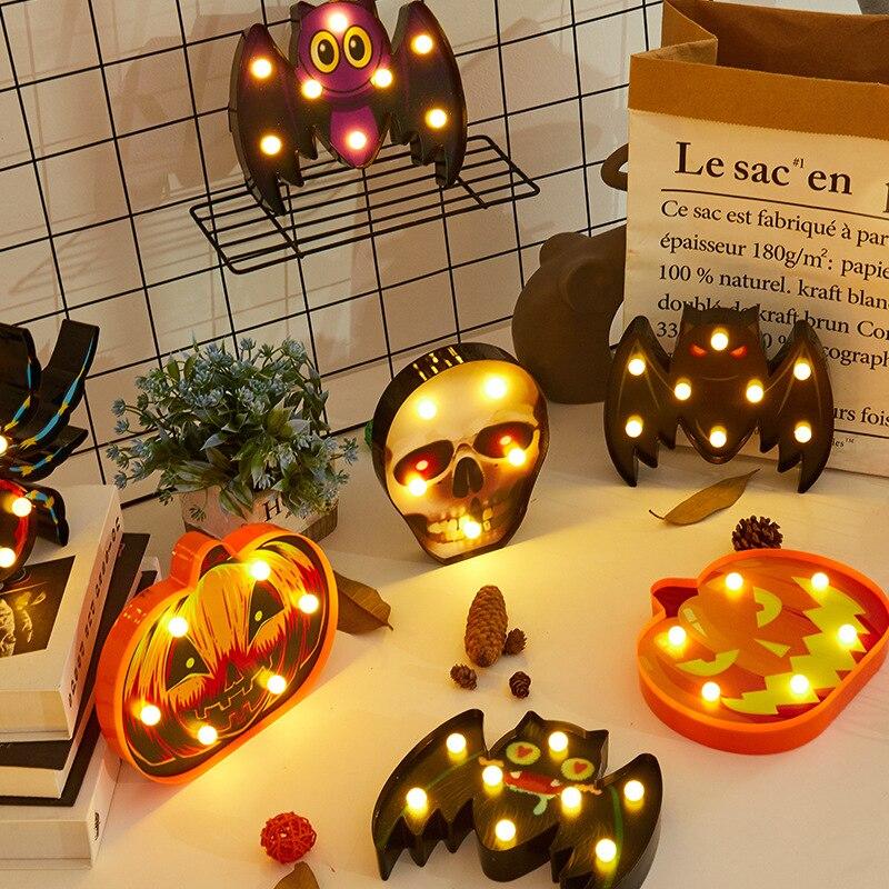 Halloween Lights Home Decorative Led Lights Diwali Styling Lamp Night Light Helloween Spider Bat Pumpkin Ghost Skull Lights
