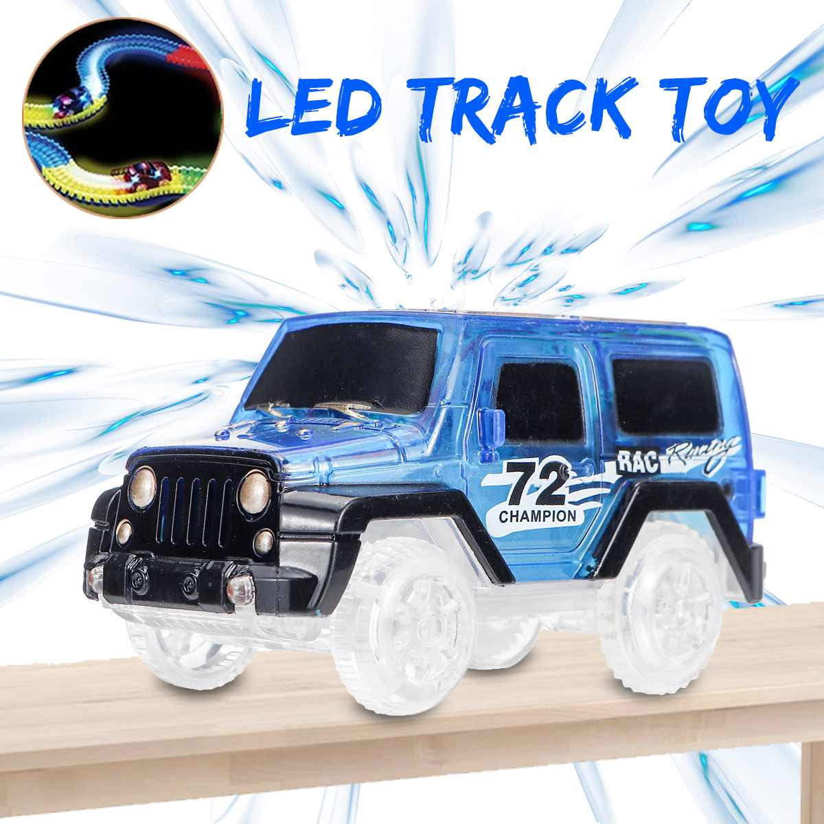 Electronics Car For Glow Track With LED Flashing Lights Glow Track Spare Parts Car Toys For Boys&Girls Children Gift