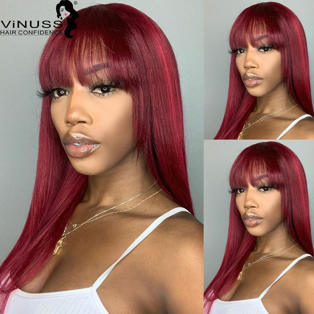 Silky Straight Human Hair Wigs With Bangs Full Machine Made Wigs Colored Wigs 99J Red Ombre Brown Brazilian Remy Hair Wig VINUSS