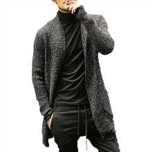 Winter Turn Down Collar Long Cardigan Men Casual Solid Warm Long Sleeve Sweater Men Slim Fit Homme Turtleneck Knitwear Male