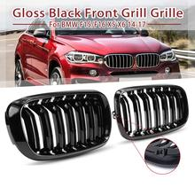 цены Car Front Bumper Line Kidney Grill Grilles for BMW F15 F16 X5 X6 2014 2015 2016 2017 Replacement Car Styling Gloss Bright Black
