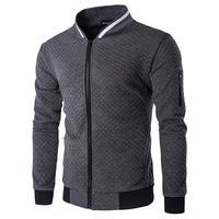 2019 New Diamond Lattice Sweatshirt Spring Autumn Casual Slim Jacket Baseball Stand Collar Jackets Men's Streetwear with Zipper