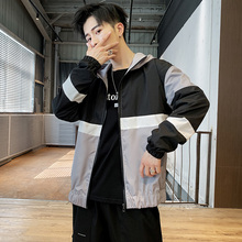 цена на Bomber Jacket Men Fashion Contrast Color Stitching Casual Hooded Jacket Man Streetwear Wild Hip Hop Loose Tooling Jacket