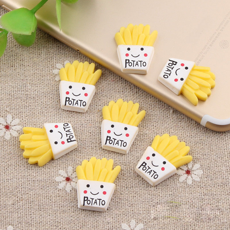 10Pcs/lot French Fries Polymer Slime Charms Modeling Clay DIY Kit Accesorios Box Toy For Children Slime Supplies Lizun For Kid E