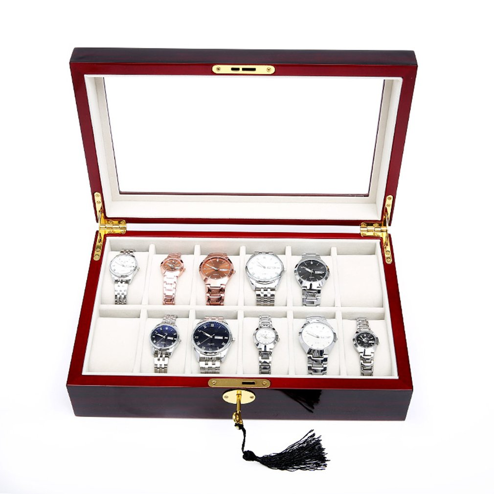 Caixa de Relógio Armazenamento com Vermelho Preto de Madeira Case de Vidro Novo 5 6 10 12 Slots Pulseira Exibição Caixão Relógios Titular 2020 2 – 3