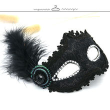 Sexy Women Black Lace Eye Face Mask Masquerade Party Lace Floral Feather Mask 2019 New faux crystal embellished lace feather party mask