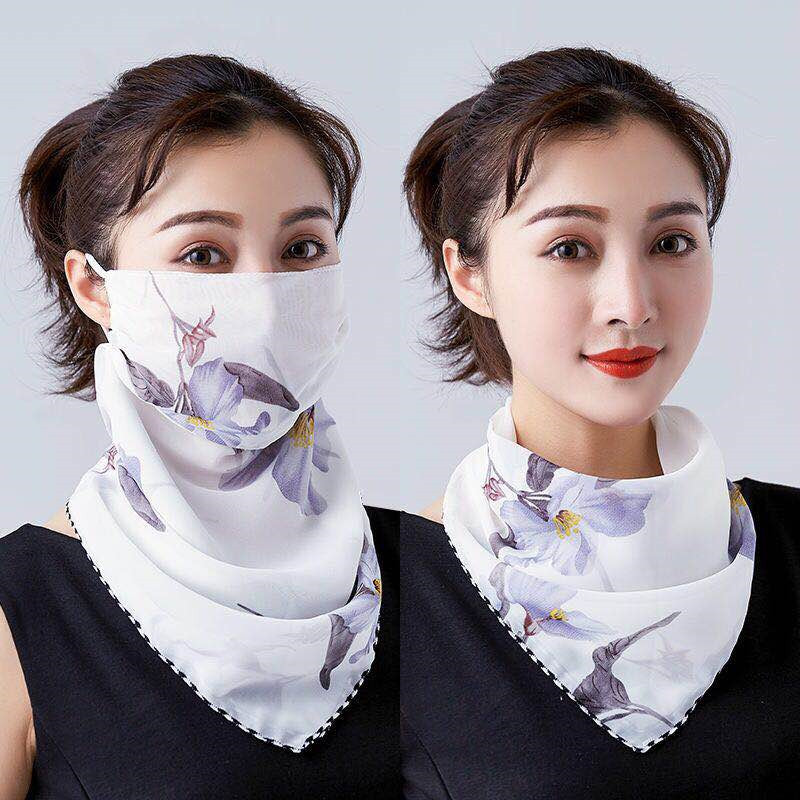 2020 Print Chiffon Flowers Face Mask Scarf Protection Women Sun Scarves Neck Cover Ladies Hiking Riding Mouth Scarf Ring Wraps