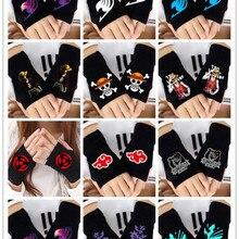 Аниме перчатки без пальцев, Наруто, сказочный хвост, перчатки, один удар, Супермен, мальчик и девочка, пол пальца, Guantes, костюм, косплей, теплые перчатки