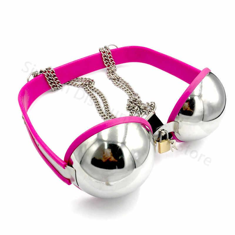 In acciaio inox del reggiseno femminile dispositivo di castità limite di protezione del seno cintura di castità cospiay fetish gioco per adulti giocattoli del sesso per le donne