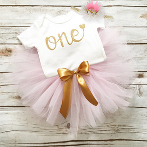 Pink 1 Year Baby Girl First Birthday Dress Kids Baby Clothes Gold Bow 1st 2nd Birthday Dresses For Girls Christening Baptism(China)