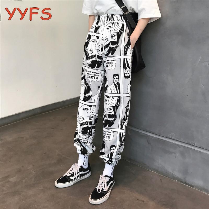 Cartoon Print Pants Women Drawstring Elastic Waist Hip Hop Long Pants Famale Harajuku High Waist Casual Jogging Trousers