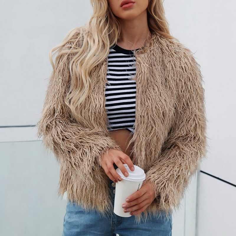 Laamei Fashion Furry Faux Fur Coat Women Fluffy Warm Long Sleeve Female Outerwear Autumn Winter Coat Jacket Collarless Overcoat