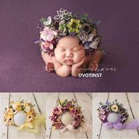 Dvotinst Newborn Photography Props Baby Girls Floral Hat Simulation Flower Bonnet Fotografia Accessorio Studio Shoot Photo Props