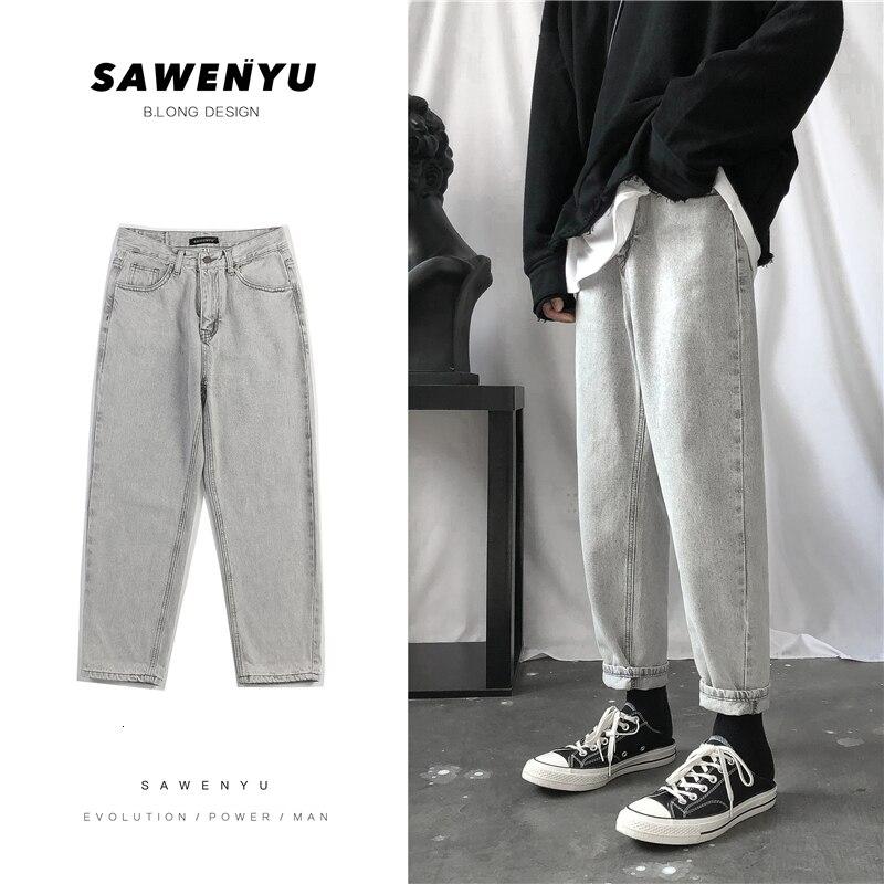 Autumn Jeans Men's Slim Fashion Washed Retro Casual Jean Pants Men Streetwear Wild Hip Hop Straight Denim Trousers Male M-2XL