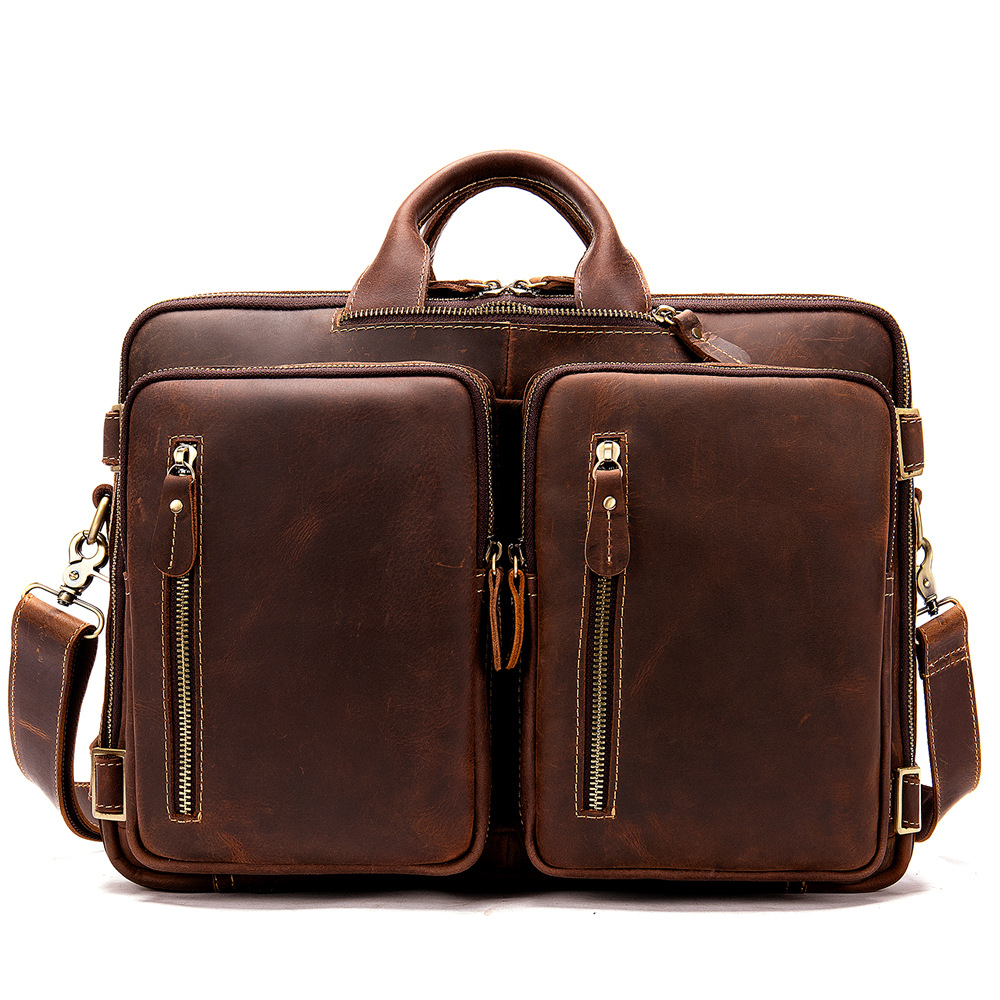 Men Oil Leather Antique Design Business Travel Briefcase Laptop Messenger Bag Tote Large Capacity Multi-pocket Mochila