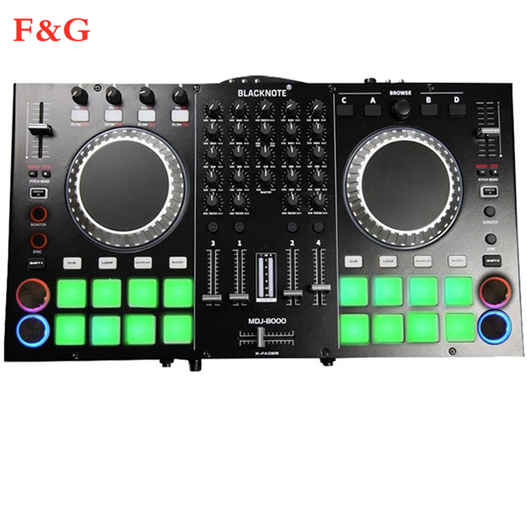Контроллер для воспроизведения проигрывателей дисков аудио микшерный пульт проигрывателей микшерный микшер mesa de mezclas dj. DJ микшер title=