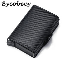 Bycobecy Carbon Fiber Anti Rfid Credit Card Holder Men Double Cardholder Case Wallet Metal Business Bank Creditcard Male Wallet(China)