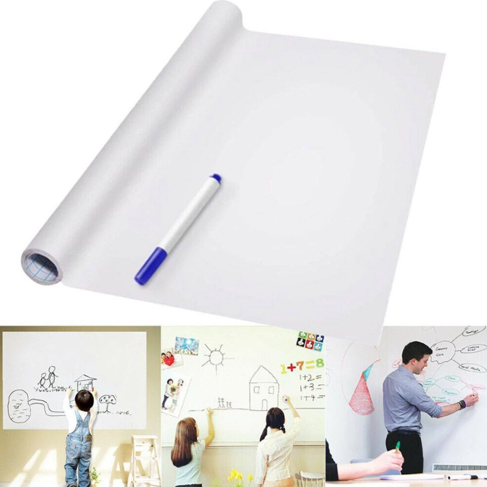 45 X 200cm  PVC Back Sticky Waterproof Movable Kid Graffiti Writing Board White Board Roll Up Reusable Message Board