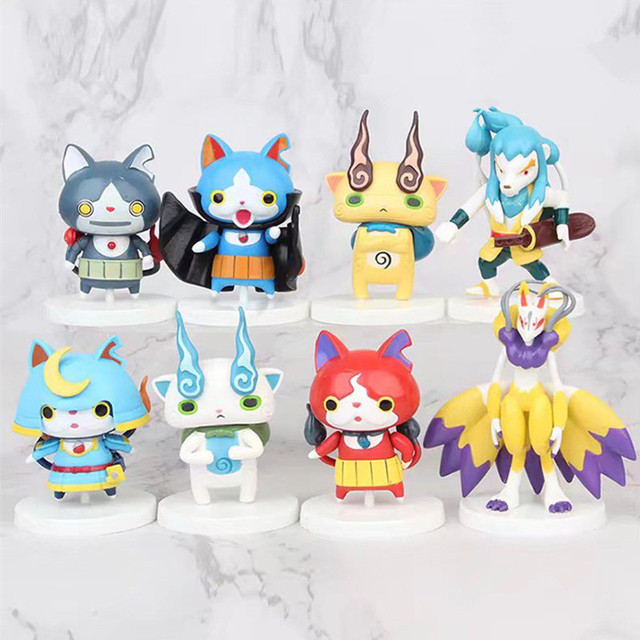 8pcs/set Yokai Youkai Watch Action Figure Cartoon Toy 8cm PVC Model Doll Kids Gift