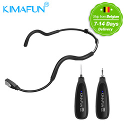 KIMAFUN 2.4G Wireless Black Headset Waterproof Microphone System with Transmitter and 3.5mm Receiver, Design for Fitness Coach